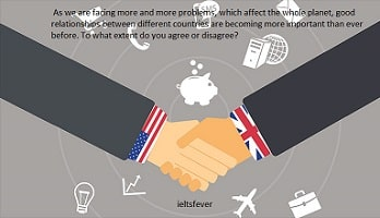 As we are facing more and more problems, which affect the whole planet, good As we are facing more and more problems, which affect the whole planet, good relationships between different countries are becoming more important than ever before. To what extent do you agree or disagree?