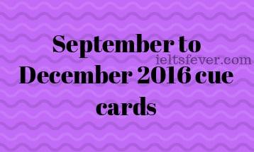 September to December 2016 cue cards