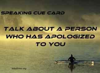Talk About a Person Who Has Apologized to You