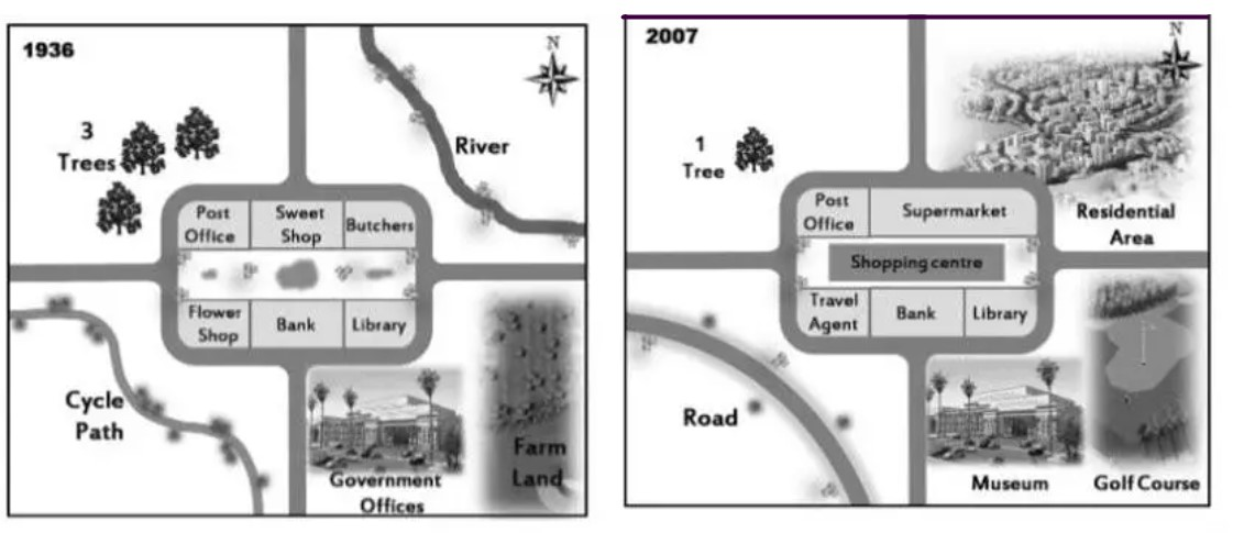 The maps below show the town of Lynnfield in 1936 and then later in 2007