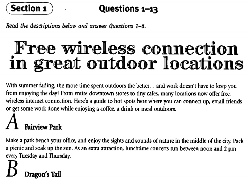 Free Wireless Connection in great outdoor location