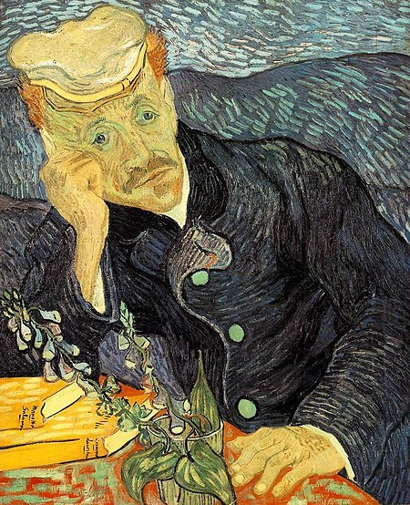 Figure 4 – Portrait of Dr. Gachet - Dr. Gachet, the psychiatrist, supposedly charged with the treatment of Van Gogh's Epilepsy is seen painted here with a flower that intriguingly resembles the foxglove plant (from which Digitalis is derived)