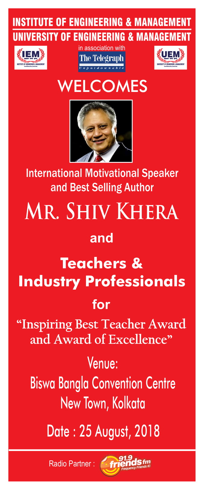 IEM-UEM welcomes International Motivational Speaker Mr  Shiv Khera