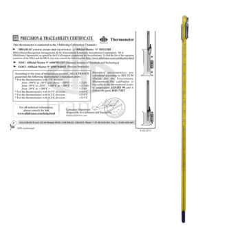 Thermometer with precision and traceability certificate