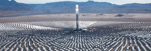A close up view of Solar Reserves Solar Thermal Tower in Nevada