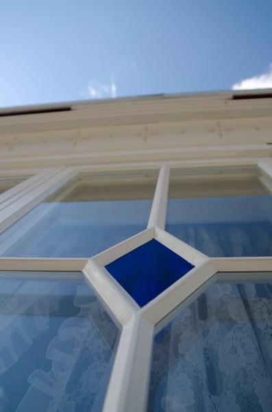 Den blå romben gir et ordentlig fint skinn både innenfra og utenfra.