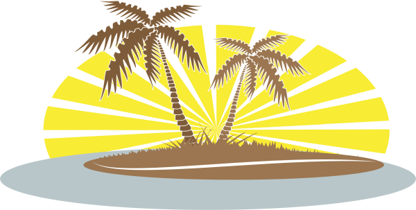 Palm trees on beach clip art