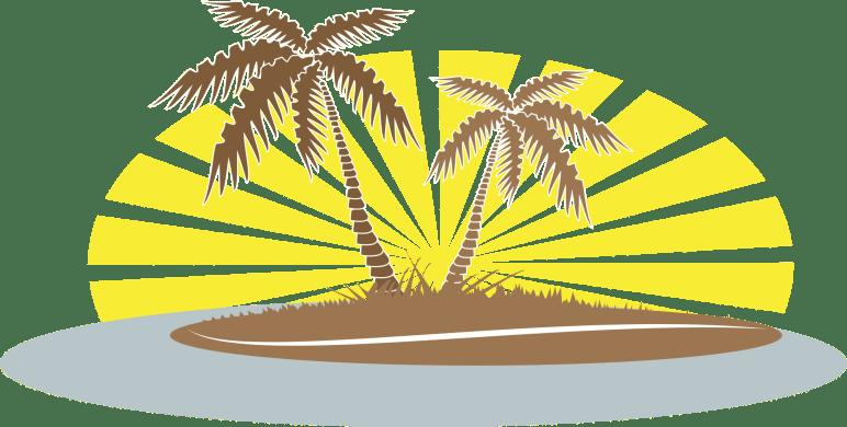 Palm trees on beach clip art
