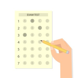 hand filling out scantron text clipart