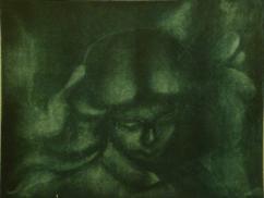 Stone angel, mezzotint etching (detail)