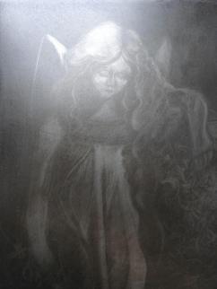 Stone angel, aquatint etching