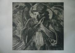 Stone angel, soft ground etching
