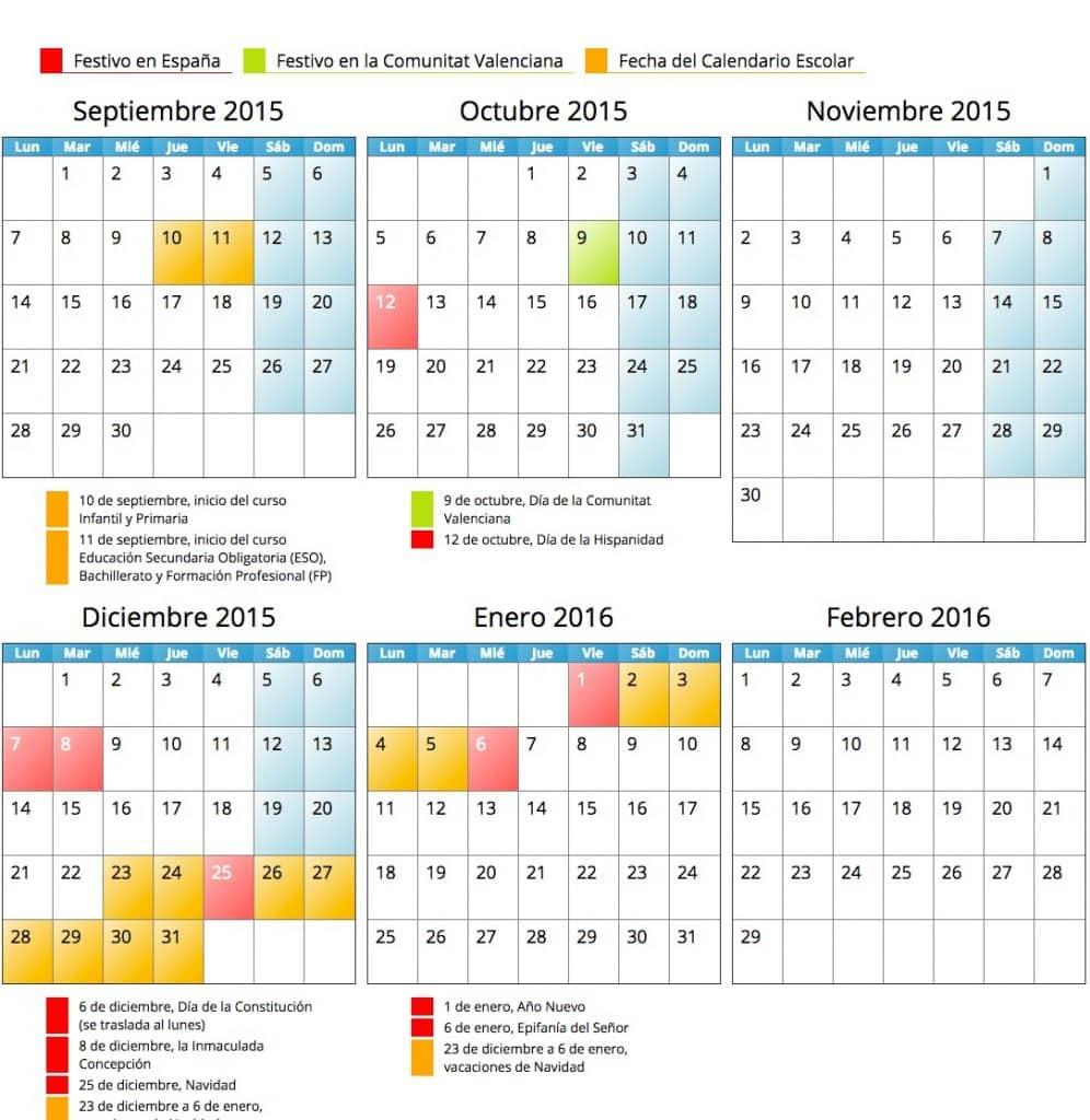 Calendario escolar 2015-15 en la Comunidad Valenciana