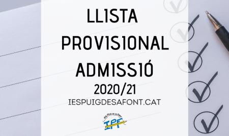 Llista provisional procés d'admissió