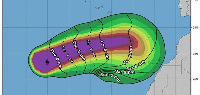 Проход Leslie на Канарских островах будет точно ощущаться в это воскресенье