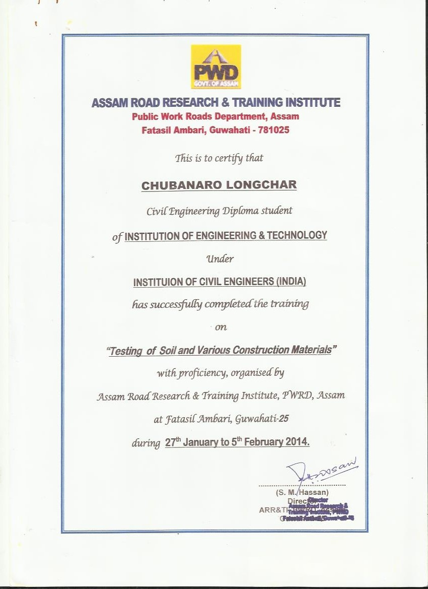 Field work training iet sample certificate provided by pwd after completion of project training yadclub Images