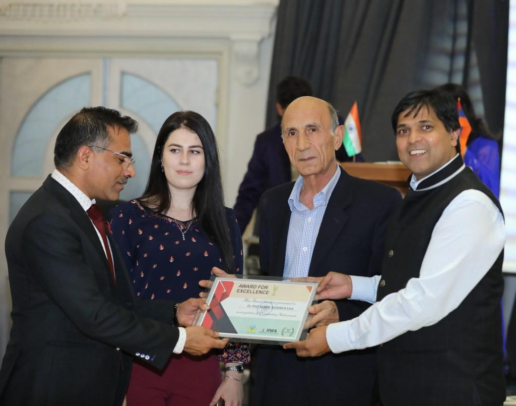 Ambassador KD Dewal presenting momento to the University Rector in Armenia