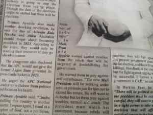 Primate Ayodele Shines Beyond Nigeria As His Prophecy On Mali Comes To Pass