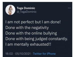 BBNAIJA Season 6: Tega Dominic Deactivates Her Instagram Account