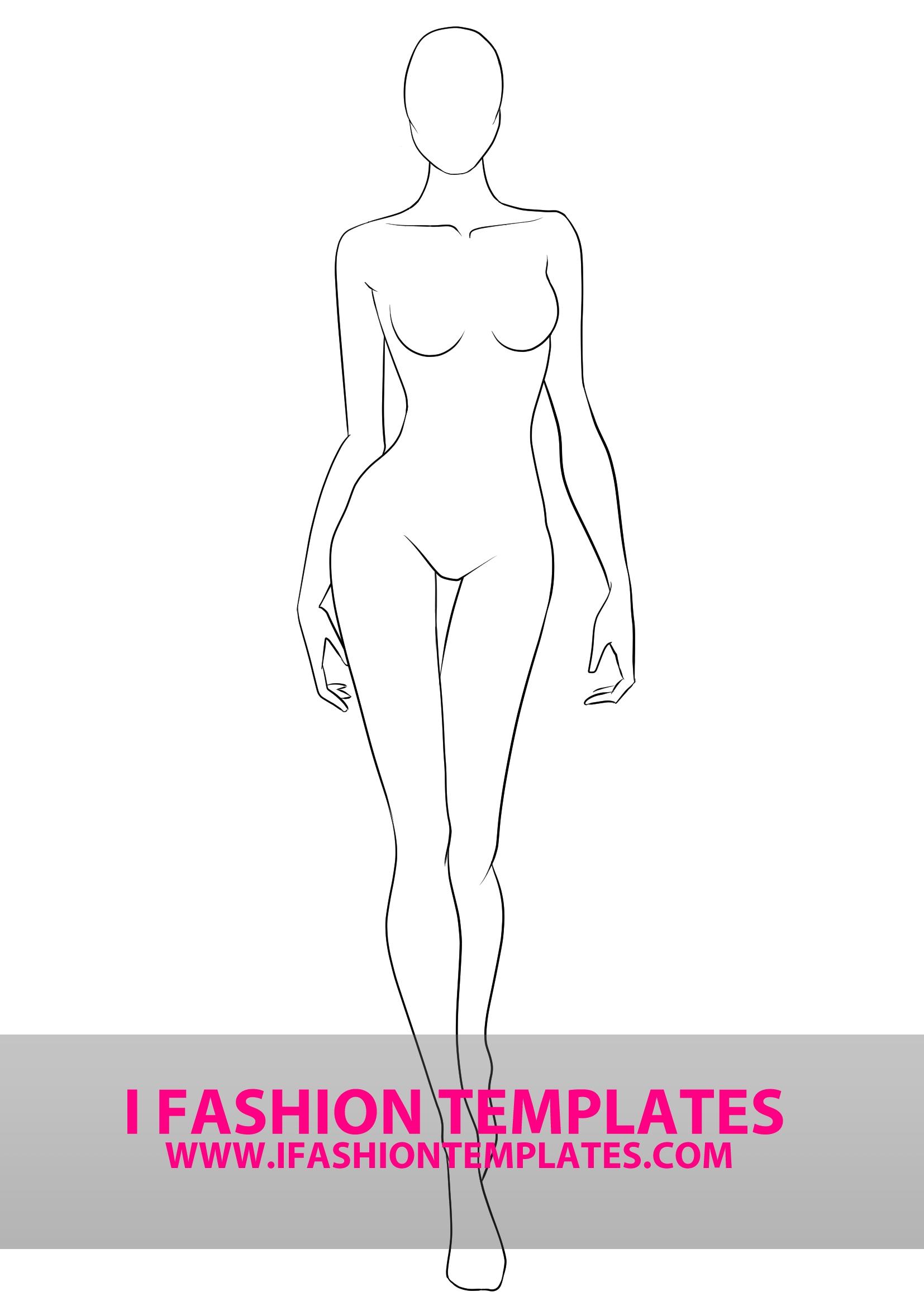 Fashion Model Outline : fashion, model, outline, Fashion, Template, Croquis—, Templates