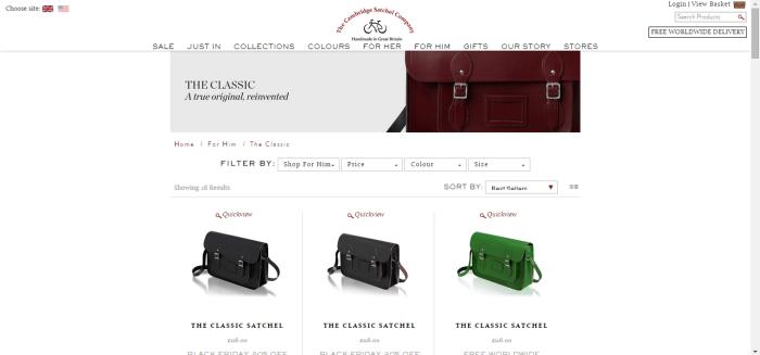 Cambridge satchel website,畫面簡潔易懂,提供全球運送。