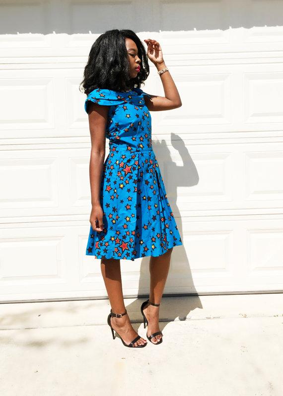 African Print Dress Anakra Midi Dress