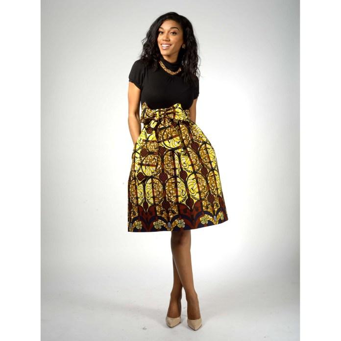African_Print_Midi_Skirt_Yellow_Brown_Navy_2