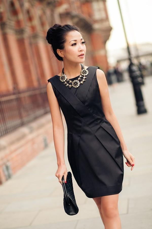 Lady wearing black dress