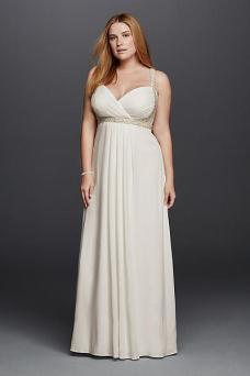 busty wedding dress - Davids Bridal Spaghetti Strap Plus Size Wedding Dress