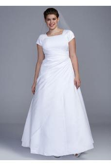 busty wedding dress - Davids Bridal Woman Short Sleeve Satin A-line Plus Size Wedding Dress Style