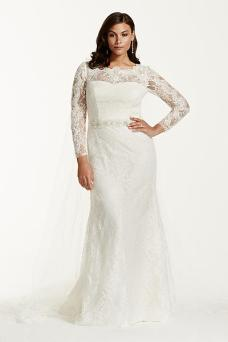 plus size wedding dress - Galina Signature Lace Long Sleeve Sheath Gown with Beading Style