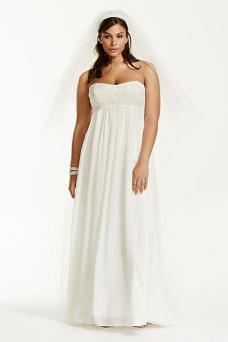 plus size wedding dress - Galina Woman Crinkle Chiffon Plus Size Wedding Dress with Lace Style