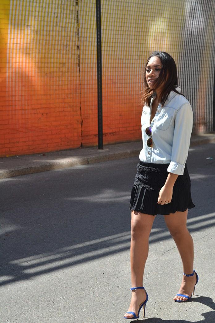 Crochet-and-Pleated-mini-skirt