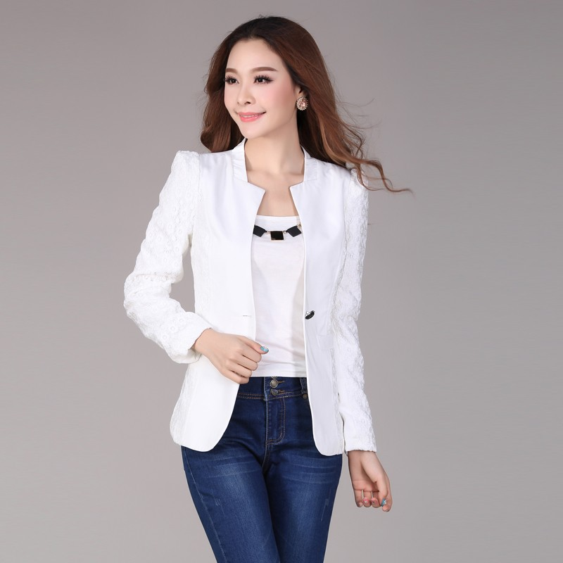 Office-White-Lace-Sleeve-Blazer-font-b-Women-b-font-Business-Casual-font-b-Outfits-b