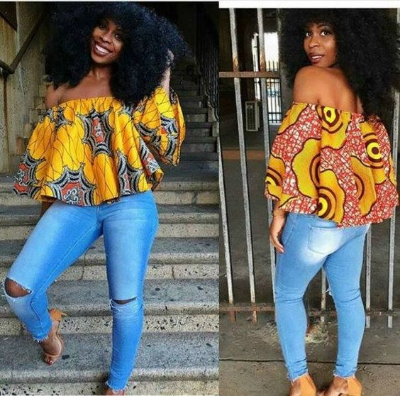 New Ankara Styles Siks Nd Tops: Latest Ankara Tops With Jeans Styles