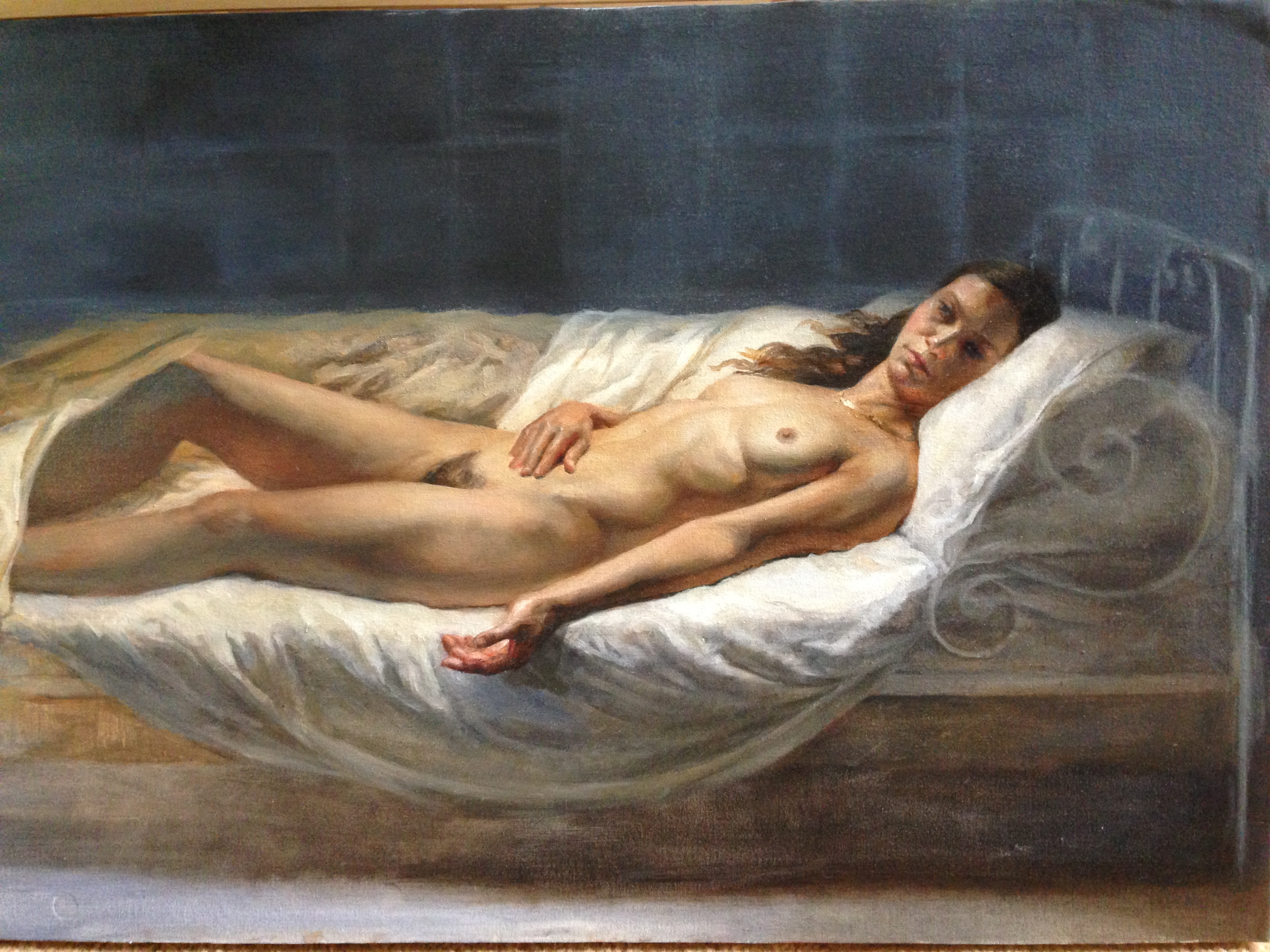 Cold Bed Female Nude Oil Painting