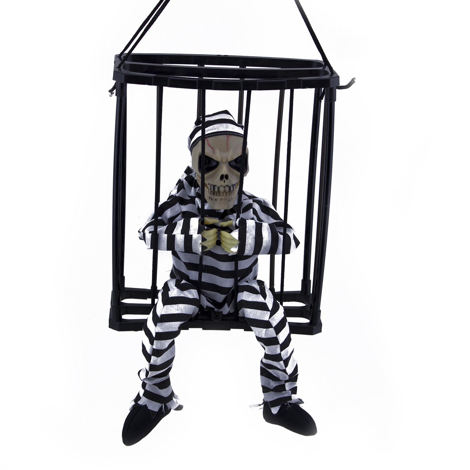 Hanging Skeleton Caged Jail Prisoner Halloween Decoration