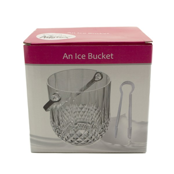 Clear Acrylic Ice Bucket Bar Tong Container Plastic Wine