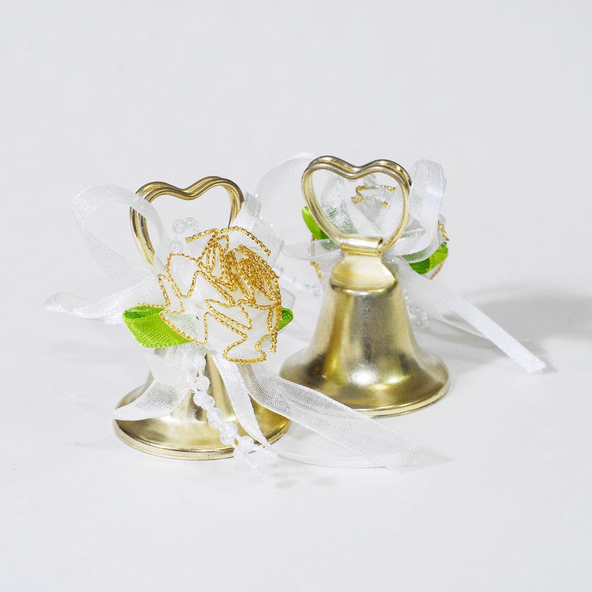 24pcs Gold Heart Shaped Wedding Bells Reception Marriage