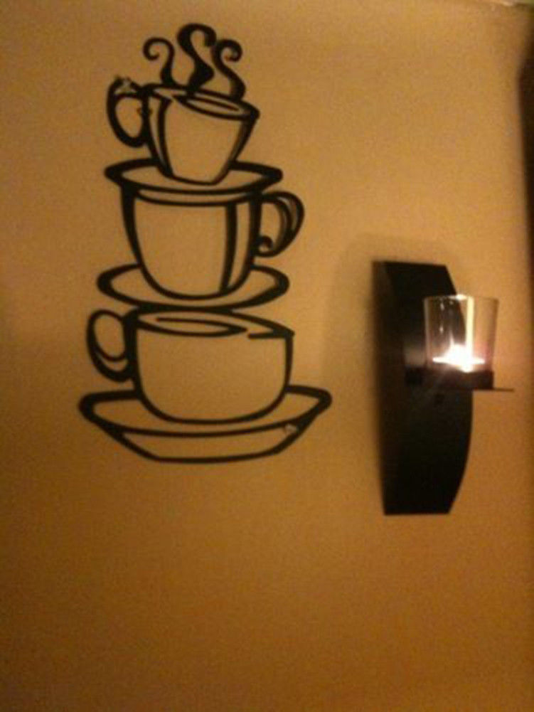 coffee themed kitchen items assembled island house cup java silhouette wall art metal mug ...