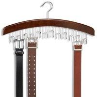 12 Hardwood Belt/Tie Hanger With Chrome Hooks Wood Wooden ...