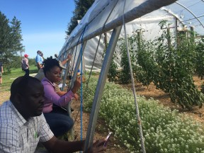Several attendees document crops grown at the Horticulture Research Station.