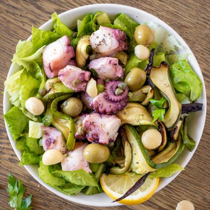 Insalata di polpo sedano olive capperi e macadamia