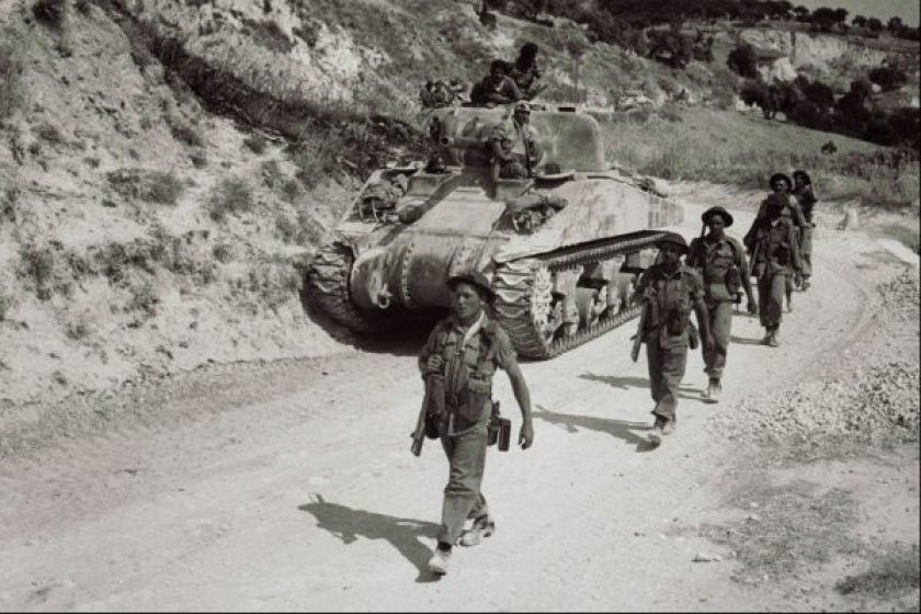 Sherman Tank with soldiers
