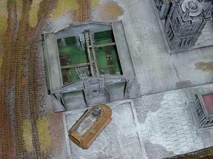 Overhead shot of the Capitol Imperialis alongside a Tank Factory.