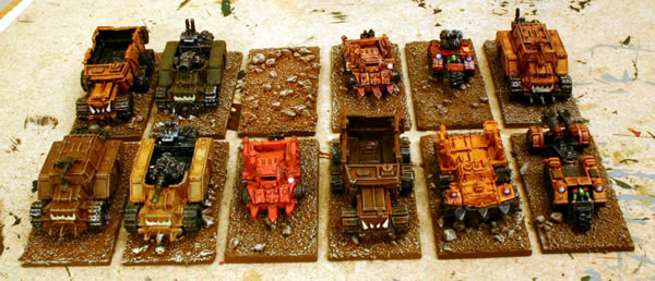 Gunwagons mixed in with other Ork vehicles