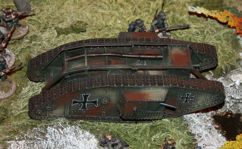 Captured British Mk IV Tank in German colours