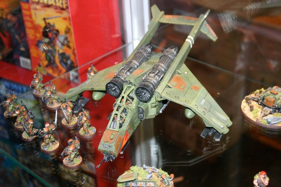 Valkyrie which is part of Owen Rees' Imperial Guard - The 374th Tahnelian Airborne, in the White Dwarf display cabinets at GamesDay 2006.
