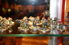 Command Squad which is part of Owen Rees' Imperial Guard - The 374th Tahnelian Airborne, in the White Dwarf display cabinets at GamesDay 2006.