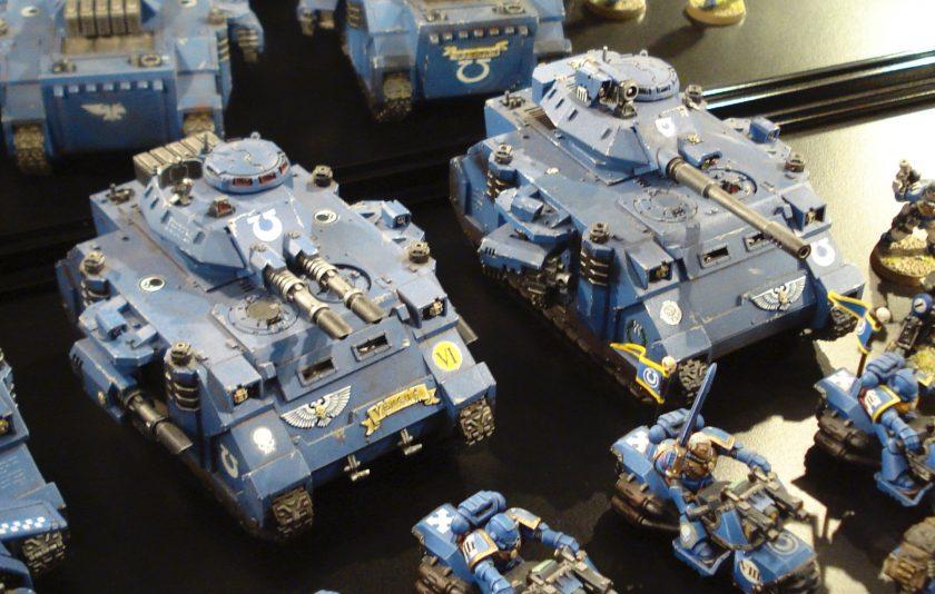 Ultramarines Predators on display at Warhammer World